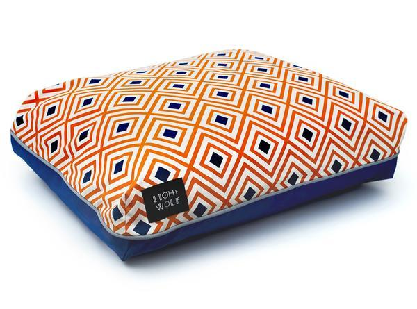 Orange geometric dog bed side view grande