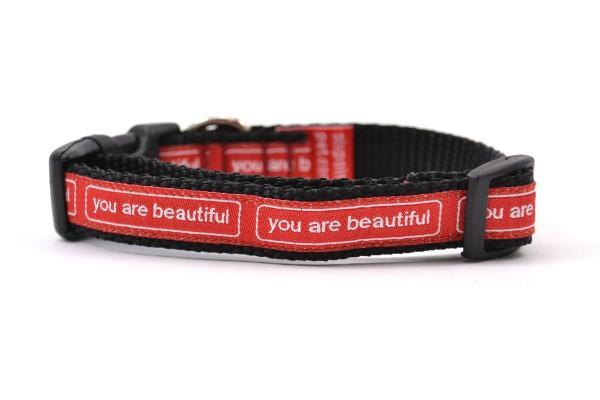 You are beautiful xs collar red and white 800x