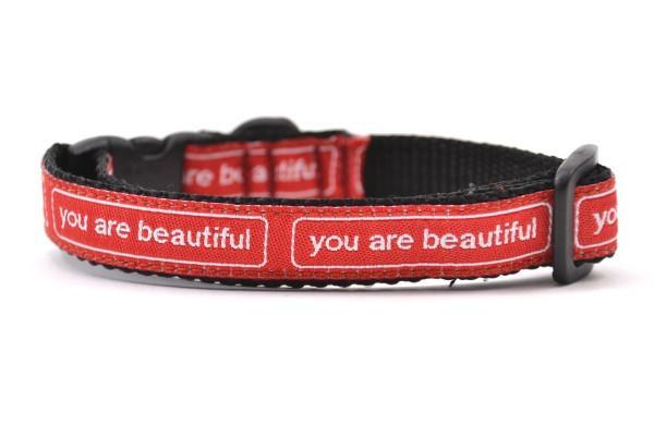 You are beautiful xxs collar red and white 800x