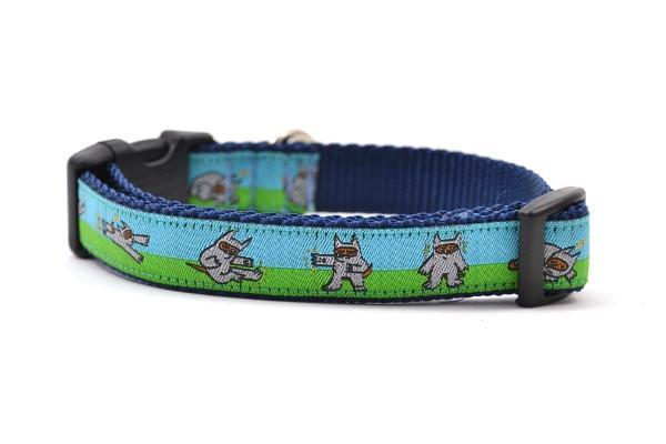 Shawnimal blue green ninja dog small collar 800x