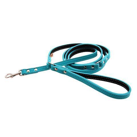 Collars leashes auburn leathercrafters tuscan leather dog leash turquoise 1 large
