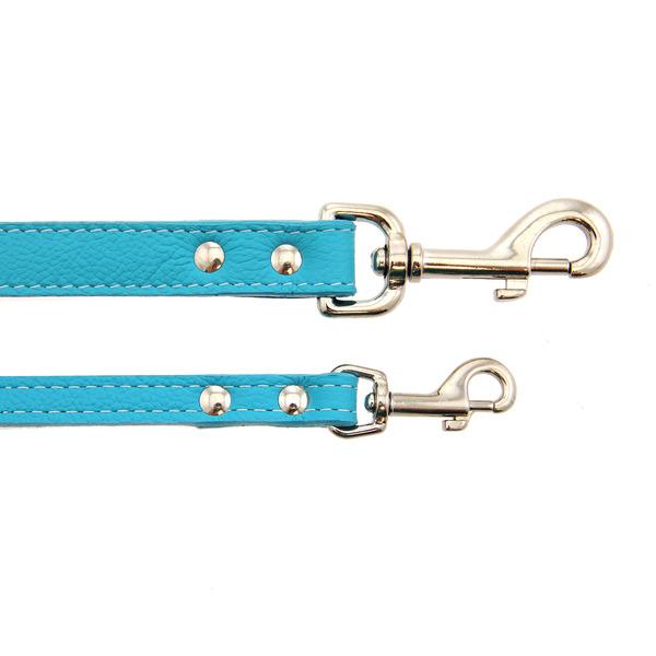 Tuscan leather dog leashauburn leather turquoise 8039