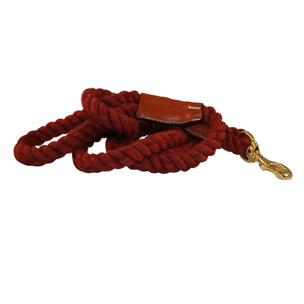 Natural cotton leather rope leash snap maroon 1020