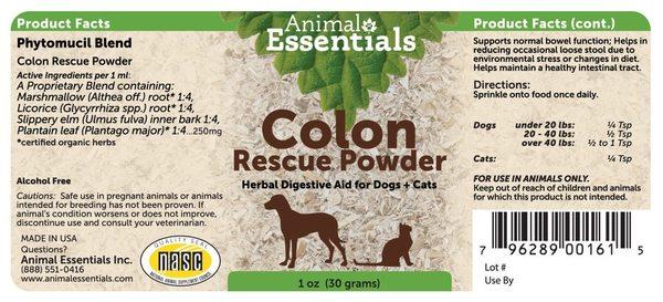 Colon rescue powder back
