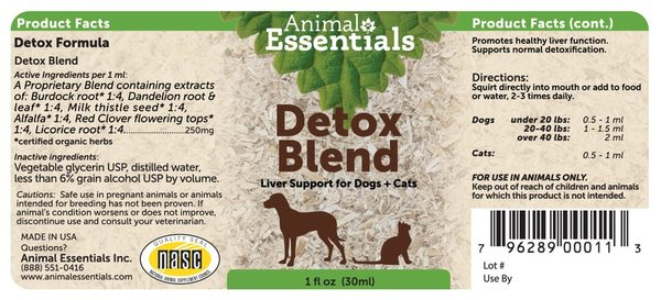 Detox blend supplement back