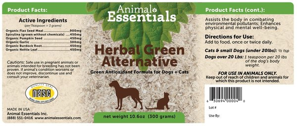 Herbal green alternative back