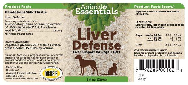 Liver defense supplement back