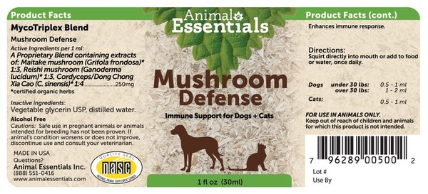 Mushroom defense supplement back