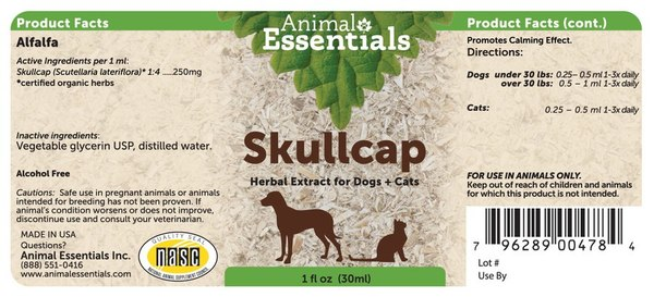 Skullcap supplement back