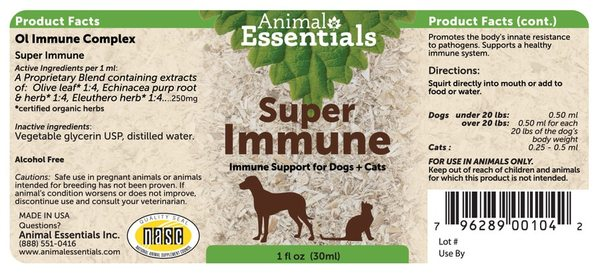 Super immune supplement back