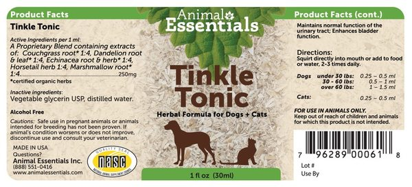 Tinkle tonic supplement back