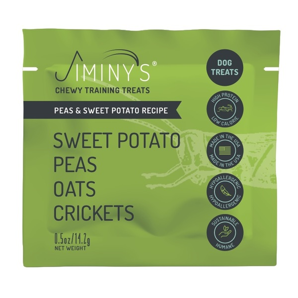 Jiminy's pouch chewy cricket treat front mock up