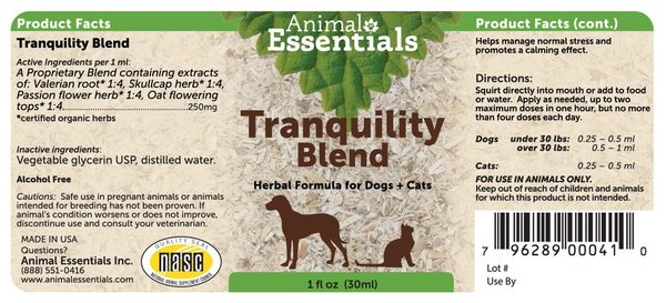 Tranquility blend supplement back