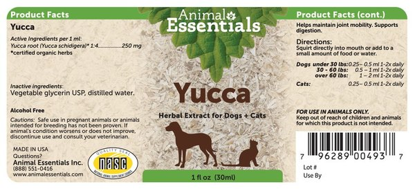 Yucca supplement back