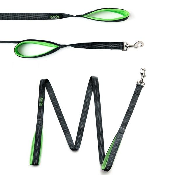 34 grey martingale cinch collar  dual handle leash and poop bag holder %281%29