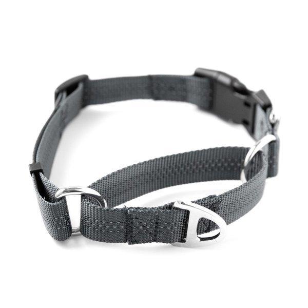 34 grey martingale cinch collar  dual handle leash and poop bag holder