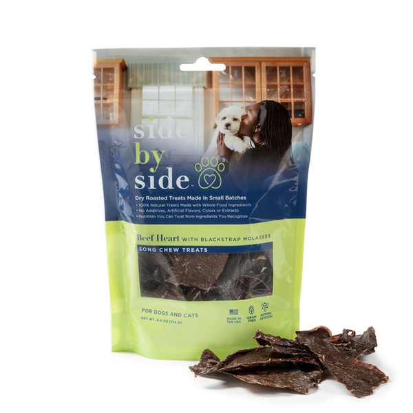 Side by side pet treats beef heart jerky