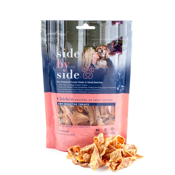 Side by side pet treats sweet potato wrapped in chicken